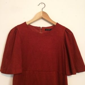 Zara Trafuluc Suede-like Burgundy dress
